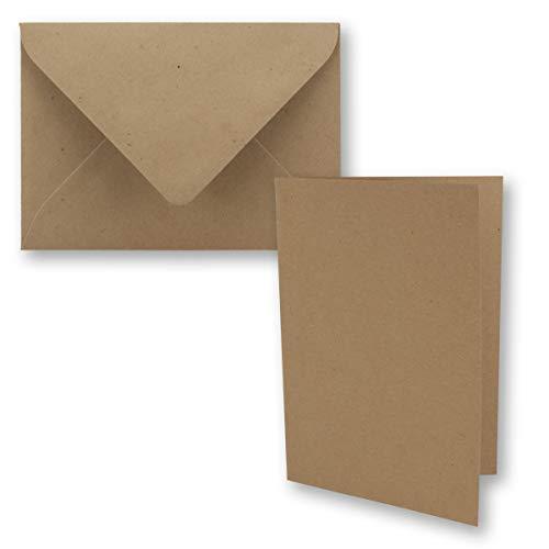25x braunes Vintage Kraftpapier Falt-Karten Set mit Umschlägen DIN A6-10,5 x 14,8 cm - Braun - Recycling - Klapp-Karten - blanko