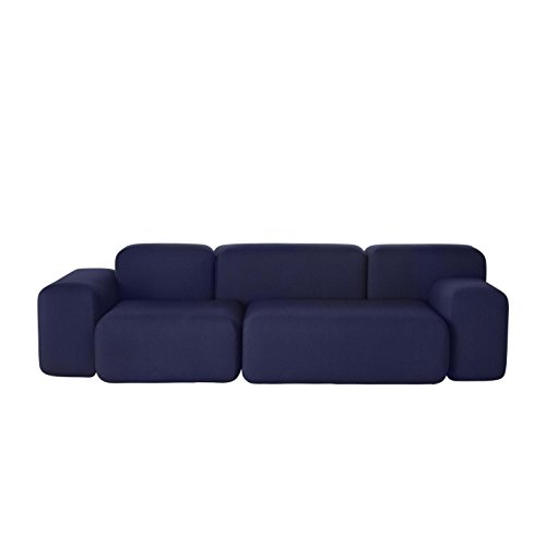 Muuto Soft Blocks 3-Sitzer Sofa 260x74x105cm, mitternachtsblau Stoff Febrik's Dotty Midnight