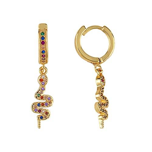 Aros de circonita CZ con Forma geométrica de arcoíris de Lujo Mini Pendientes de aro pequeños Boho Pendientes de Oro Redondos joyería