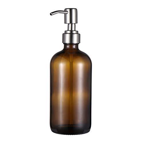 TENDYCOCO botella de vidrio con bomba dispensador de viaje botella de bomba para champú acondicionador gel de ducha jabón líquido aceites esenciales 500ml