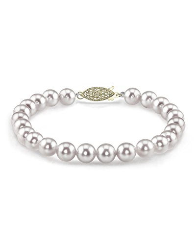 THE PEARL SOURCE 14K Gold 7-7.5mm AAA Quality Round White Japanese Akoya Saltwater Cultured Pearl Bracelet for Women (Difference Between Akoya And South Sea Pearls)
