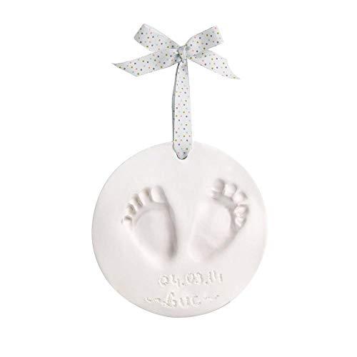 Baby Art My pure Touch Huella en arcilla blanca de tu bebé para colgar, con purpurina,Set de decoración de huella de mano y pié, Regalos para bebés y recién nacidos, Shiny Vibes