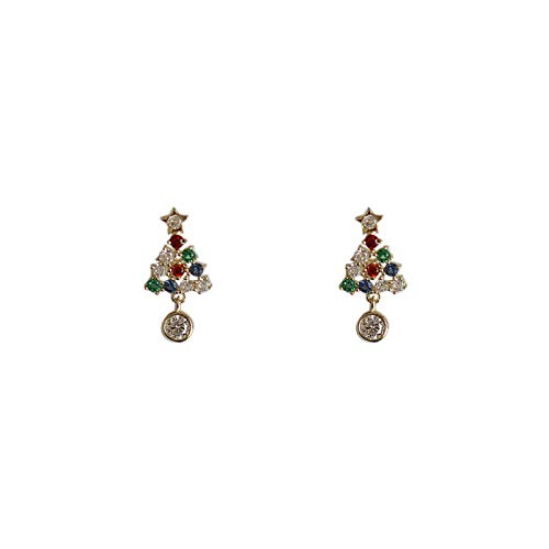 925 Sterling Silver Simple Christmas Tree Stud Earrings Women Pavé Color Crystals Christmas Fashion Jewelry Accessories-stud earring