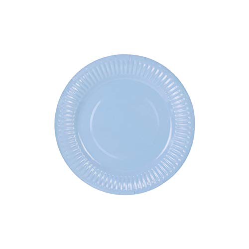 6 Assiettes en Carton Bleu Pastel