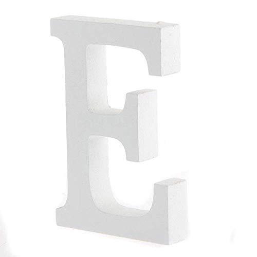BIGBOBA Holz Buchstaben A-Z Retro DIY Dekoration für Home Coffee Shop Kleidung Store Geburtstag Party Hochzeit Weiß, Höhe 8 cm, E
