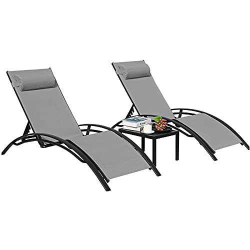 GARTIO Lot de 2 Chaise Longue avec Table, Bains de Soleil, Transat de Relaxation avec Oreiller, 153 * 64 * 83,5 cm, Charge 120 kg, pour Jardins, Balcons, etc.