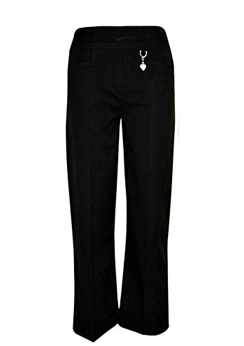 Pants Girls School Trousers Half Elasticated with Heart Pendant Plain Bottoms (Black, 15-16 Years)