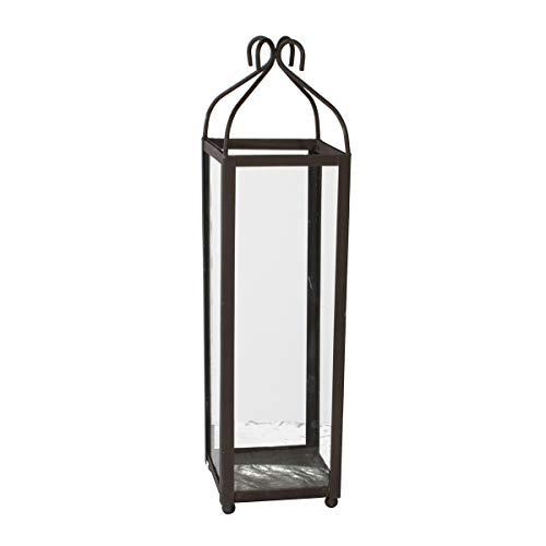 Varia Living Große Laterne lari aus Metall in schwarz für große Kerze Deko Windlicht hoch für Eingangsbereich | einsetzbar draußen im Garten oder drinnen (H 80 cm/B 22 cm/T 22 cm)