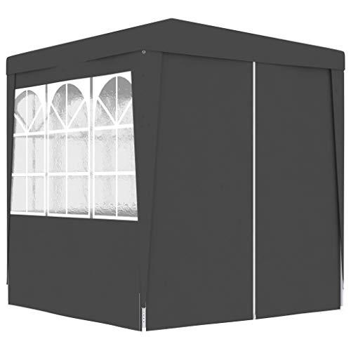 vidaXL Profi Partyzelt mit Seitenwänden UV-beständig Wasserbeständig Pavillon Festzelt Gartenpavillon Gartenzelt Garten Bierzelt 2x2m Anthrazit 90g/m²