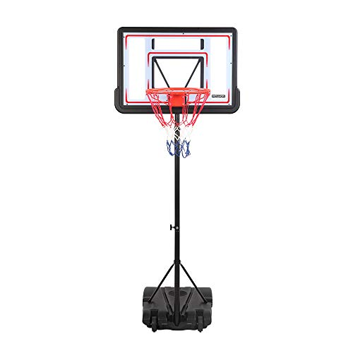 """PEXMOR Basketball Hoop Portable Adjustable Height Poolside Basketball Stand System for Youth Kids Teenagers Indoor Outdoor with 32"""" Width PVC Backboard 2 Nets Wheels"""