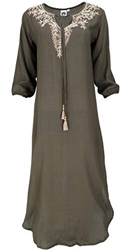 Guru-Shop, Geborduurde Boho Maxi Jurk, Indiase Tuniek Jurk, Caftan Jurk, Olijfgroen, Size:S/M (12), Lange Midi-jurken