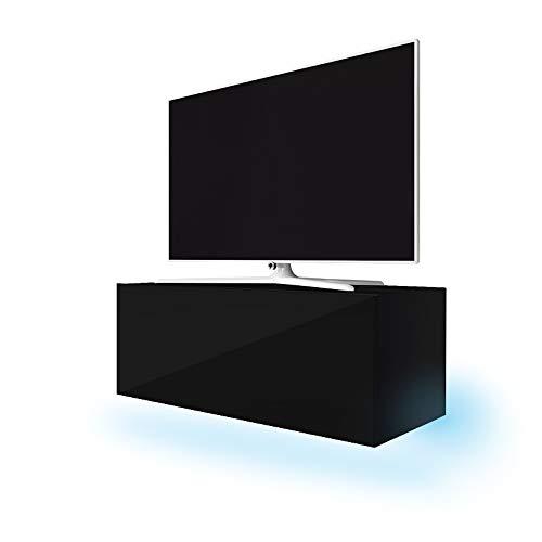 Selsey Lana - Mobile TV con illuminazione a LED blu, 100 x 40 x 34 cm, colore: nero opaco/nero brillante