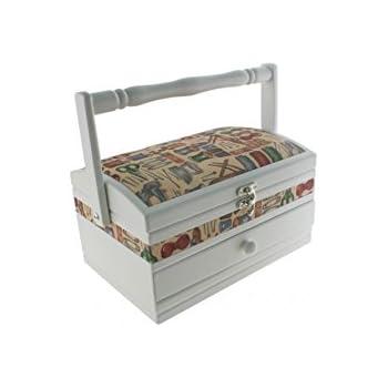 CAL FUSTER - Costurero de madera combi rectangular blanco. Medidas: 14x25x16 cm.: Amazon.es: Hogar