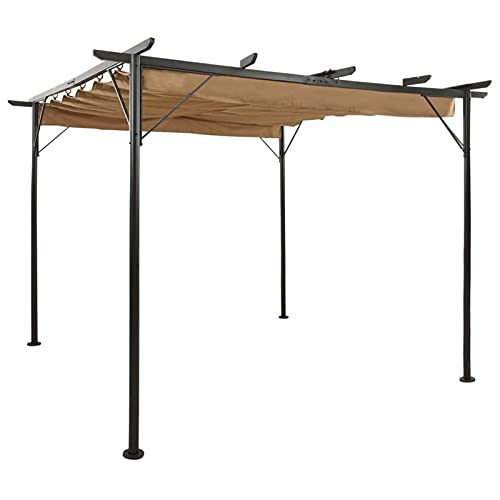 CDPC Pérgola con techo retráctil gris pardo 3 x 3 m, acero 180 g/m², sistema de techo retráctil de madera para pérgola de jardín para sombra y lluvia