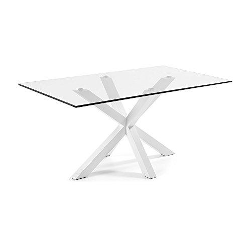 Kave Home - Tavolo rettangolare Argo in vetro e acciaio