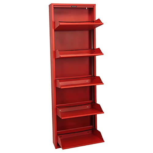 DRW Mueble Zapatero de Metal de 5 cajones, Rojo, 170x50x15 cm