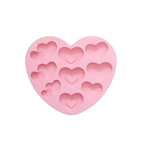 EzzySo Contiene 3 Diferentes moldes de gelatina en Forma de corazón, Amor natillas Pudding Mousse Torta Molde de Silicona de Dibujos Animados para Uso doméstico,B,6PCS