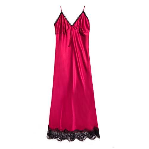 Ocuhiger Camisónes De Satén para Mujer Vestido De Pijamas Verano Ropa De Dormir Satín Túnica Albornoces Batas De Casa para Novia Dama De Honor Sexy Correa Larga De Encaje Rojo Vino