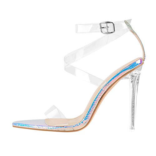 MissHeel Clear Heels for Women Sexy Strappy Sandals with Heel Pointed Toe Ankle Strap Stiletto Fashion Size8.5