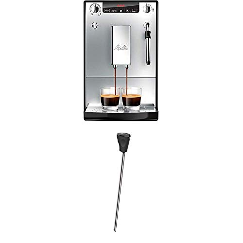 Melitta Caffeo Solo & Milk E953-102, Schlanker Kaffeevollautomat mit Milchschaumdüse, Silber + Milchlanze für Kaffeevollautomaten, Edelstahl, Schwarz