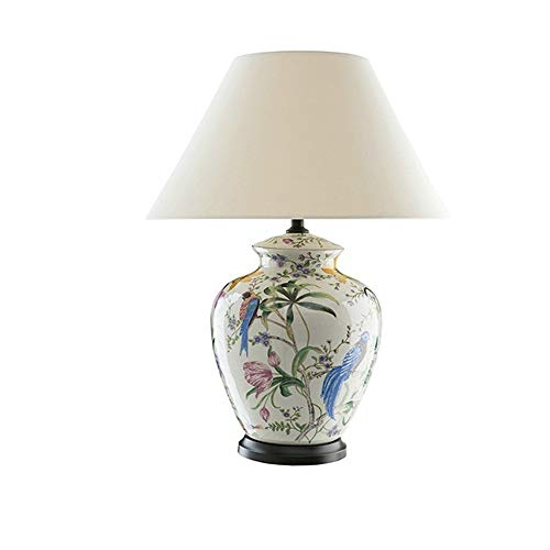 JenLn Bijzettafel lamp bloemen vogel-handbeschilderde keramiek tafellamp springglazuur woonkamer bedlampje