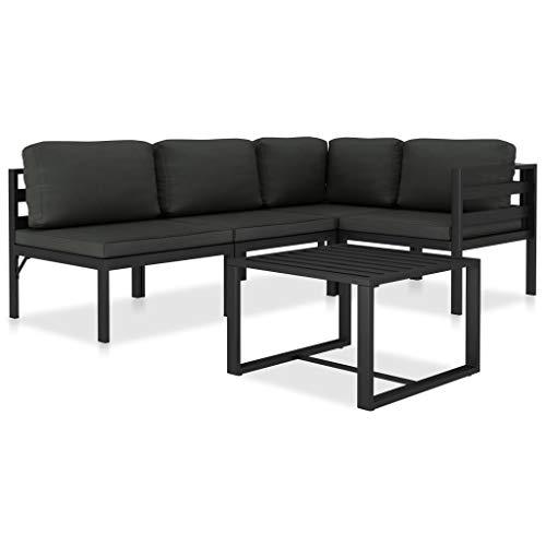 vidaXL Set Muebles de Jardín 5 Piezas y Cojines Patio Terraza Conjunto Casa Exterior Comedor Aire Libre Mesa Silla Asientos Aluminio Gris Antracita