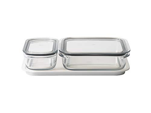 ライクイット (like-it) キッチン収納 調理ができる 保存容器 Mサイズ1個 クリア + Lサイズ1個 クリア トレーL ホワイト FC-036 冷凍保存可 食器洗い乾燥機可