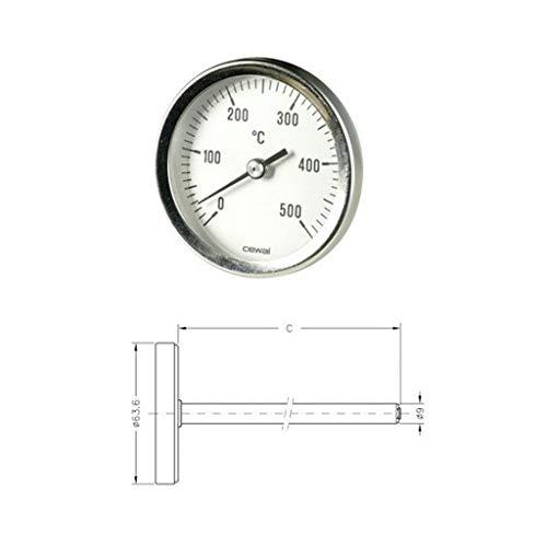 Pirometro Termometro 0-500° Bimetallico Forno Stufa Sonda 30cm 91636300 Cewal