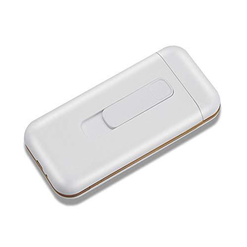 SANSH Zigarettenetui mit Feuerzeug Zigaretten Box Tragbare 20pcs 100s Slim Zigaretten USB Feuerzeuge 2 in 1 Wiederaufladbar Flammenlos Winddicht Elektrisches Feuerzeug (Weiß)