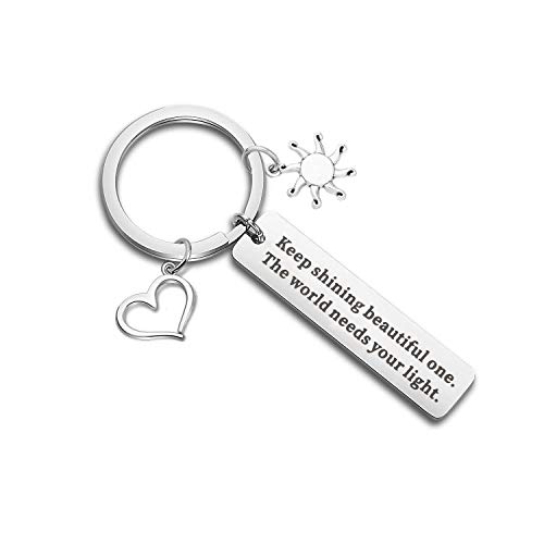 CHOORO Inspirational Keychain Motivational Quotes Charm Keeping Shining Beautiful One The World Needs Your Light Motivational Jewelry Encouragement Gift (Keep Shining kc)