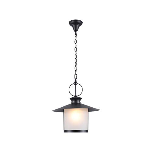 LiQi Lámpara Colgante lámpara de Exterior Vintage Metal E27 Exterior Dentro Negro Aluminio Pantalla de Vidrio Altura Ajustable Industria Lámpara de Techo Impermeable por jardín balcón