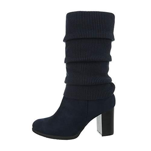 Ital-Design Damenschuhe Stiefel High Heel Stiefel Synthetik Dunkelblau Gr. 40
