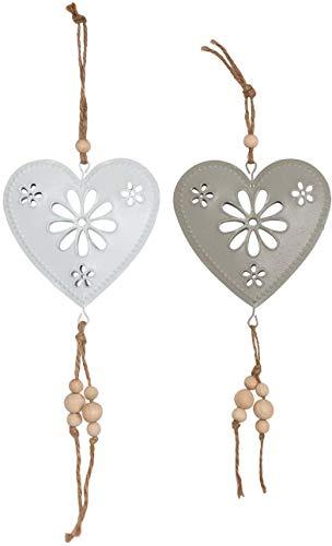 AUBRY GASPARD Coeurs à Suspendre en métal 10 cm (Lot de 2)