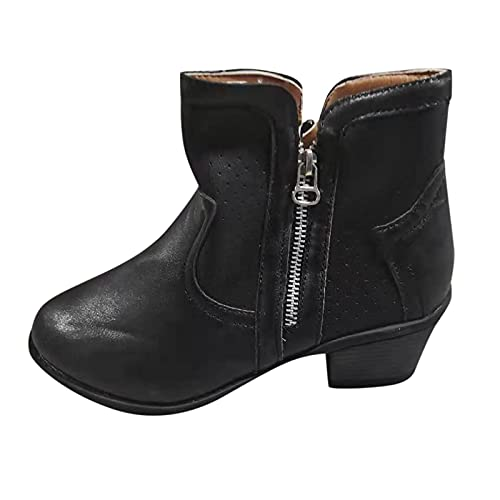 Mid Calf Boots for Women Pure Color Pointed Toe Boots Chunky Heel Pull On Knit Boots Vintage Side Zipper Short Boots Black