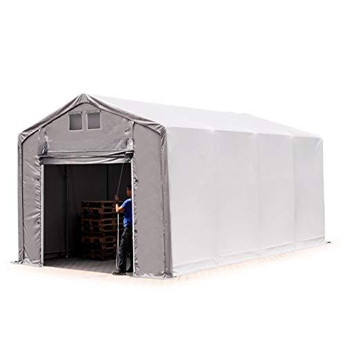 TOOLPORT Lagerzelt Zelthalle 4x8 m mit Hochziehtor - ca. 550g/m² PVC, durchgehende Plane - Wasserdicht 3m Seitenhöhe