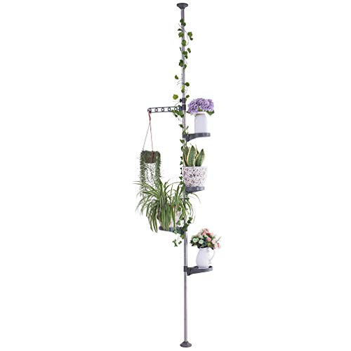 Hershii 5-Layer Indoor Plant Stand Pole Spring Tension Rod Corner Flower Display Rack Holder Adjustable Telescopic Floor to Ceiling Shelf Space Saving - Grey