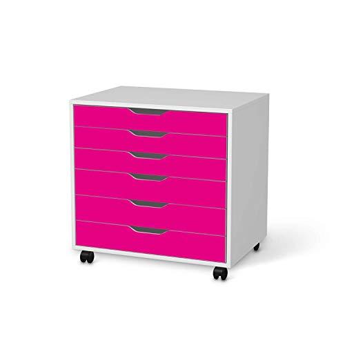 creatisto Möbel-Tattoo passend für IKEA Alex Rollcontainer 6 Schubladen I Möbelfolie - Möbel-Aufkleber Folie Tattoo I Deko DIY für Wohnzimmer und Schlafzimmer - Design: Pink Dark