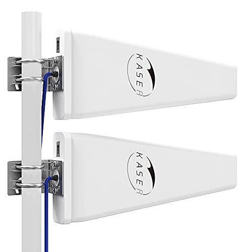 KASER Antenna LPDA 5G 4G LTE Esterno Mimo Logaritmica 698-2700 | 3300-3800 MHz Guadagno fino 12 dBi compatibile per Router 5G 4G Uscita N-SMA con Adattatore TS9 con 2 Cavi a Bassa Perdita da 10M