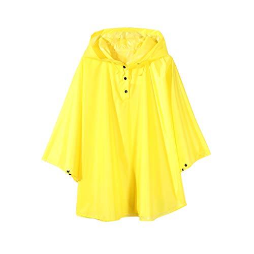 Poncho impermeable con capucha para niño, ultraligero, color liso amarillo L:6-9 edad
