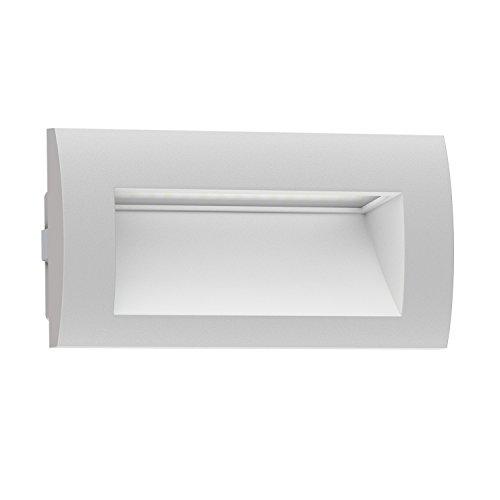 ledscom.de Lámpara de pared empotrada de LED ZIBAL para exterior, blanco cálido, 140x70mm