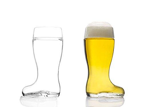 STÖLZLE LAUSITZ Bierstiefel 500 ml I 2er Set I formschöne Biergläser 0,5l I spülmaschinenfest I edles bleifreies Kristallglas I sehr bruchresistent I hochwertige Gläser I Stiefel-Glas
