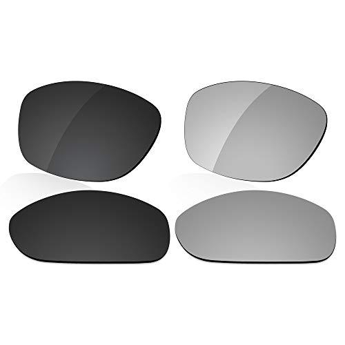LenzReborn Reemplazo de lente polarizada para Arnette La Pistola AN4179 Sunglass - Más opciones, Dark Black + Silver Grey, Talla única