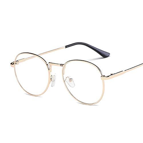NJJX Montura De Gafas De Moda Vintage Redondas Para Mujer, Anteojos Ópticos De Metal, Lentes Transparentes Transparentes, Gafas Nerd Geek, Círculo, Espectáculo, Oro