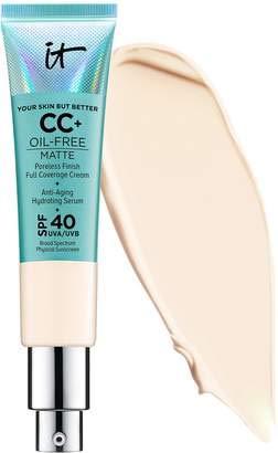 It Cosmetics CC+ - Crema de cobertura completa con acabado sin olor, color sérum hidratante antienvejecimiento, tamaño medio neutro