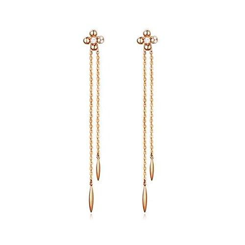 Beydodo Pendientes Mujer Pendientes 18ct (750) Oro Rosa Pendientes de Mujer Pendientes Flor Borla Larga