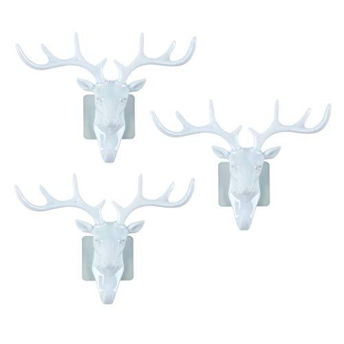 NUOBESTY 3Pcs Deer Head Wall-Mount Key Rack Box Reindeer Antler Entryway Hat Hook Rails for Bathroom Hallway Kicthen Door Closet Room Decoration