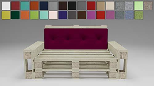 Rollmayer Palettenkissen mit Steppung Auflage für Europaletten Indoor und Outdoor Palettenpolster Kollektion Vivid (Weinrot 13, Rückenkissen, 120x40x8cm)