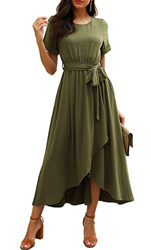 Real She Women's Short Sleeve Belted Casual Loose Plain Maxi Dress Elastic Waist Slit Asymmetrical Wrap Long Dress with Pockets Army Green