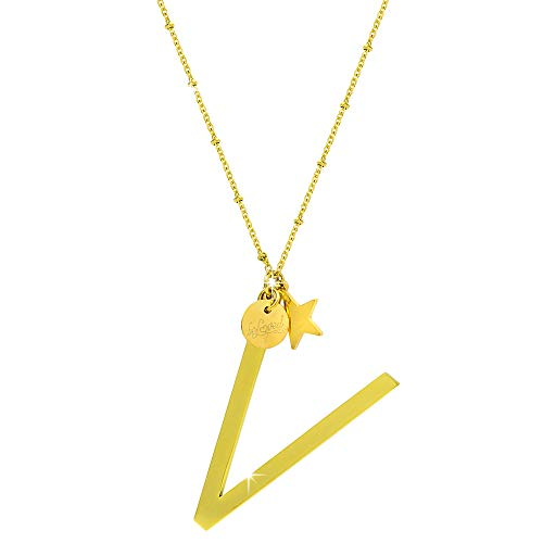 Collana con ciondolo da donna in acciaio con iniziale - pendente lettera Maxi - collana con catenina regolabile - Colore Silver o Gold (LETTERA V, Colore Gold)