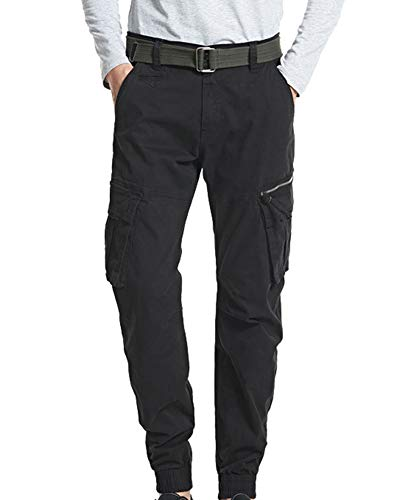 MISSMAOM_Fashion2019 Men's Rovic Zip 3D Straight Tapered Trousers with Elasticated Leg Opening,Black,33 W
